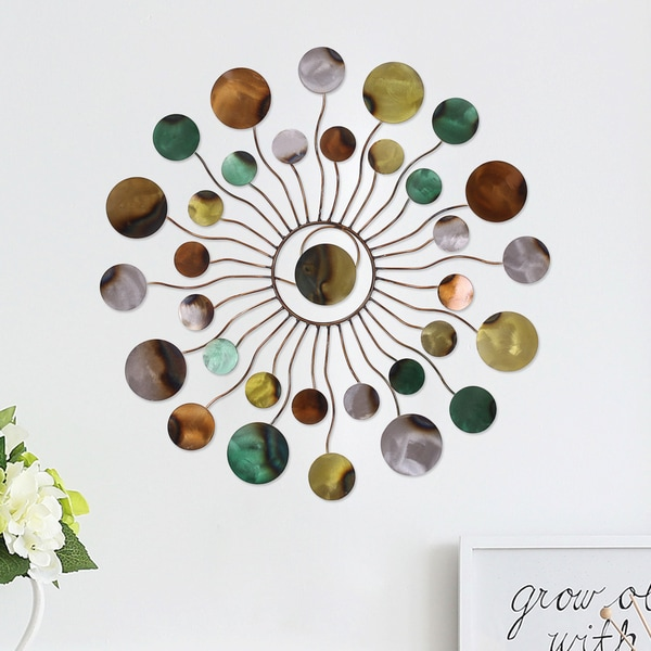 Adeco Multicolor Metal Blossom Sunburst Wall Art