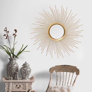 Adeco Sunburst Goldtone Metal Wall Mirror