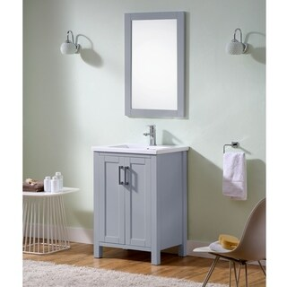 Infurniture Grey Wood 24-inch Contemporary-style Bathroom Vanity with Thick-edge Ceramic Sink
