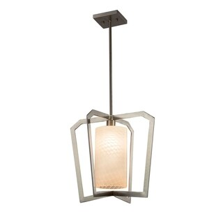 Justice Design Group Fusion Aria 1-light Brushed Nickel Chandelier, Weave Shade