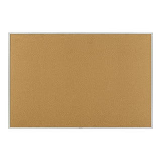 "Offex 48""x48"" Natural Cork Bulletin, Traditional Aluminum Trim"
