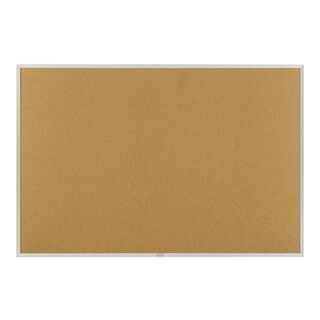 "Offex 48""x72"" Natural Cork Bulletin, Traditional Aluminum Trim"