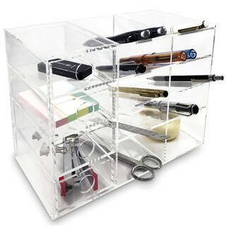 Ikee Design Acrylic 4-Shelf Office Supply Organizer Storage Drawer Case