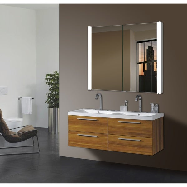 shop ace silver glass led mirror cabinet - free shipping