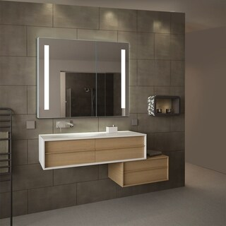 Royale Silver Glass LED Mirror Cabinet