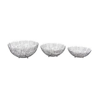 Set Of 3 Metallic Wire Bowl