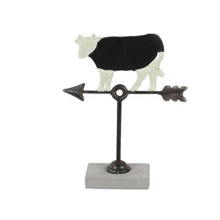 Aged Metal Cement Cow Weathervane