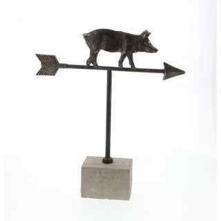 Aged Metal Cement Pig Weathervane