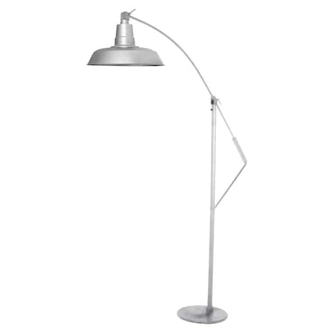 "12"" Oldage LED Industrial Floor Lamp - Galvanized Silver"