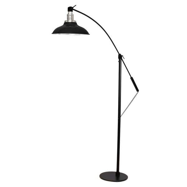"12"" Peony LED Industrial Floor Lamp - Black"
