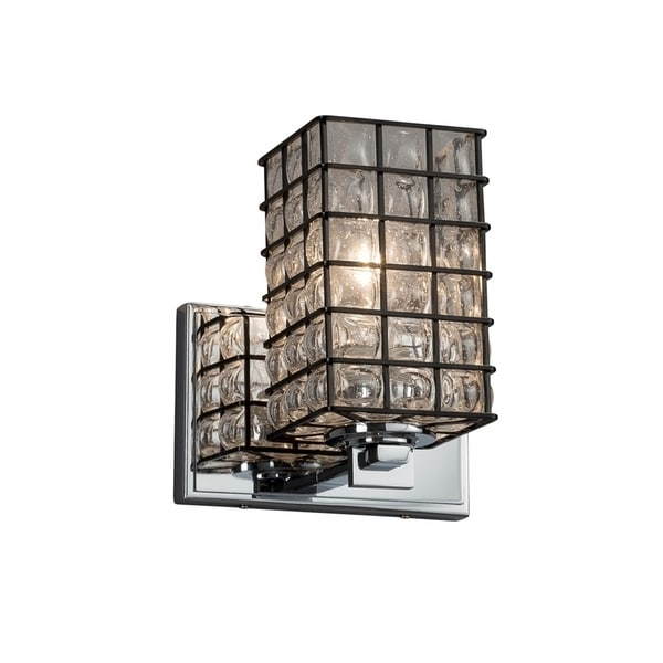 Justice Design Group Wire Glass Era 1-light Polished Chrome Wall Sconce Grid with  sc 1 st  Overstock.com & Shop Justice Design Group Wire Glass Era 1-light Polished Chrome ...
