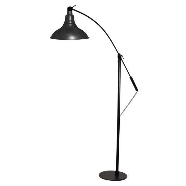Dahlia Matte Black Metal 8-inch LED Industrial Floor Lamp