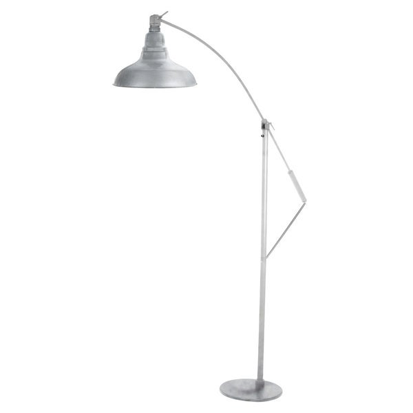 Dahlia Galvanized Silvertone Metal 8-inch LED Industrial Floor Lamp