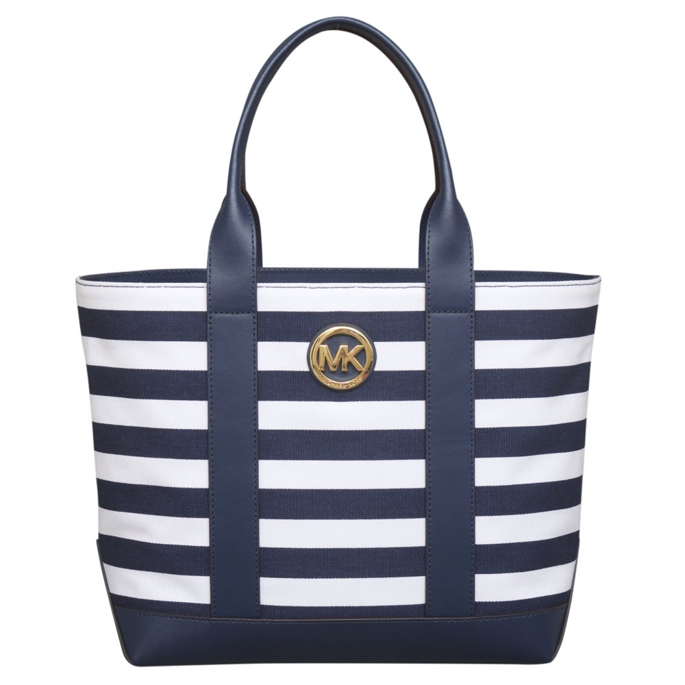 Navy Blue And White Striped Michael Kors Bag   Confederated