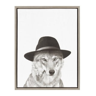 Kate and Laurel Sylvie Wolf with Hat Black and White Portrait Grey Framed Canvas Wall Art by Simon T