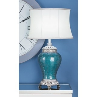 Urban Designs Euro Blue Cracked Glass Mosaic Handcrafted Table Lamp