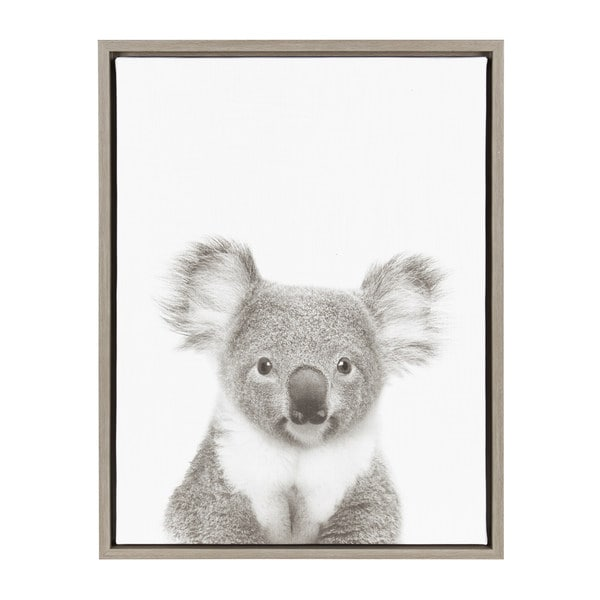 Shop Kate and Laurel Sylvie Koala Black and White Portrait Grey ...
