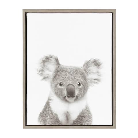 Kate and Laurel Sylvie Koala Black and White Portrait Grey Framed Canvas Wall Art by Simon Te Tai