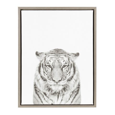 Kate and Laurel Sylvie Tiger Black and White Portrait Grey Framed Canvas Wall Art by Simon Te Tai