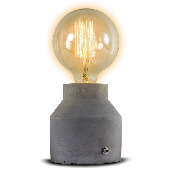 DISCONTINUED - Medium Stylish Modern Grey Concrete Cement 11-inch Accent Table Lamp
