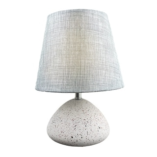 Modern Stylish Speckled Concrete Cement 11.8-inch Accent Table Lamp with Grey Fabric Shade