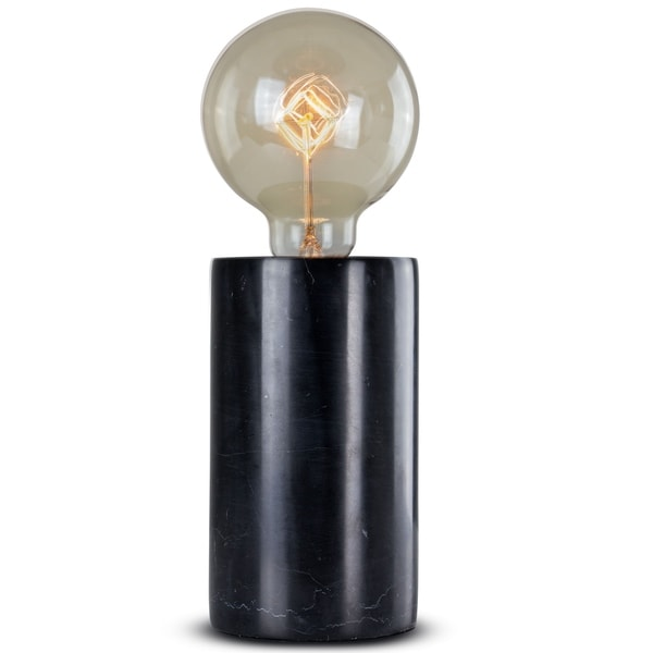 Modern Stylish Black Marble Cylinder 10.75-inch Accent Table Lamp