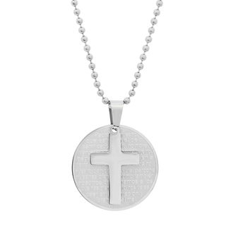 Men's Steeltime Stainless Steel Padre Nuestro Prayer Pendant with Cross in 2 colors - Silver