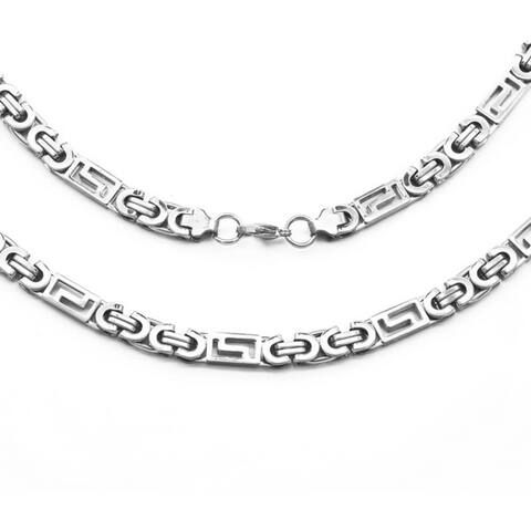 Men's Steeltime Stainless Steel Flat Byzantine and Greek Key Link Necklace in 2 colors - Silver