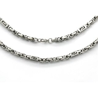Men's Steeltime Stainless Steel Byzantine Chain Necklace in 2 colors