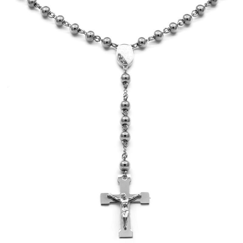 Steeltime Stainless Steel Beaded Crucifix Rosary Necklace...