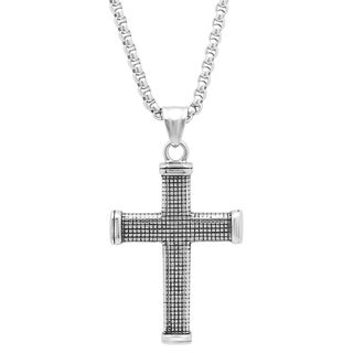 Stainless Steel Tiled Cross Pendant in 2 colors