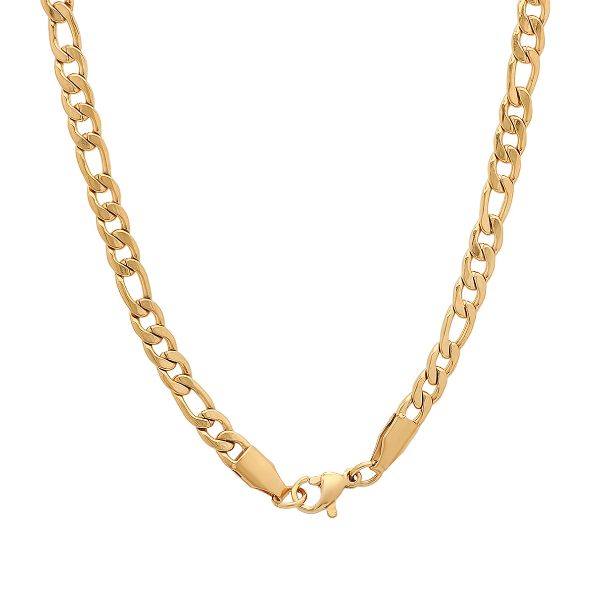 5mm 14K Gold IP Stainless Steel Mens Figaro Necklace