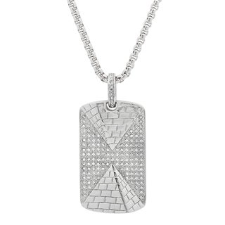 Stainless Steel CZ Pyramid Dog Tag Pendant in 2 colors