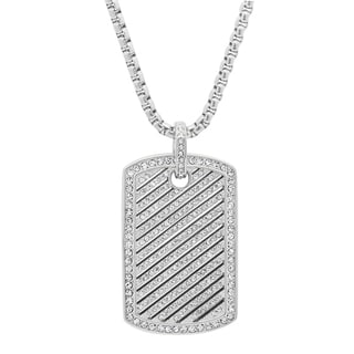 Stainless Steel CZ Striped Dog Tag Pendant in 2 colors