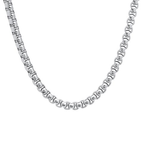 Stainless Steel Round Box Chain Necklace in 2 colors