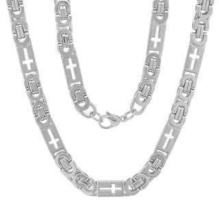 Men's Steeltime Stainless Steel Flat Byzantine Chain Necklace in 2 colors