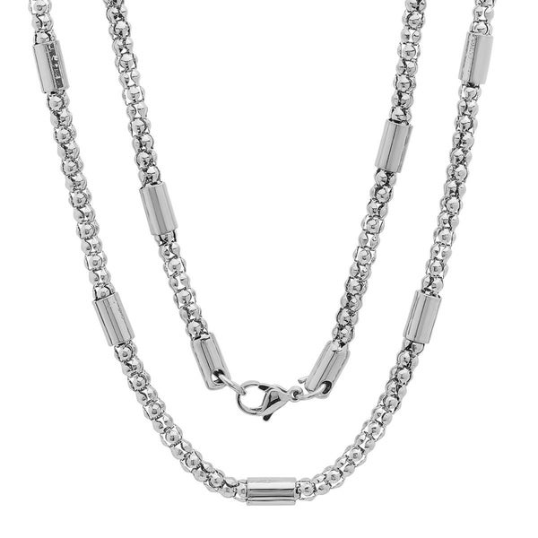 Men's Steeltime Stainless Steel Popcorn Chain Necklace in 2 colors - White