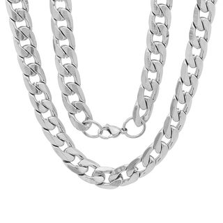 Men's Steeltime Stainless Steel Accented Cuban Chain Link Necklace in 2 colors - White