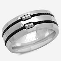 Stainless Steel Ring with Double Black Wire Inlay in 4 sizes