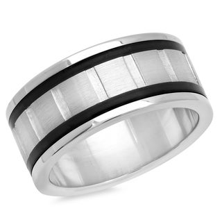 Stainless Steel and Black IP Inlay Ring