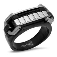Black IP Black Wire Inlay Ring in 4 sizes