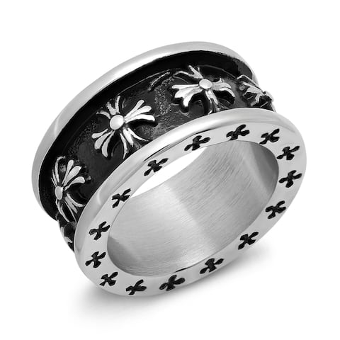 Stainless Steel and Black IP Fleur-de-lis Band Ring in 4 sizes