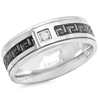 Men's Steeltime Stainless Steel Greek Key Ring with CZ