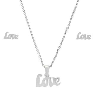 Stainless Steel LOVE Earring and Pendant Set in 2 colors