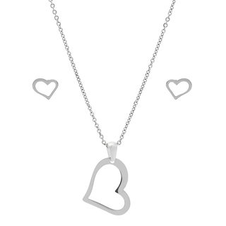Stainless Steel Heart Earring and Pendant Set in 2 colors