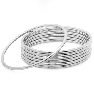 Piatella Ladies Set of 7 Stainless Steel Classic Bangles in 2 colors