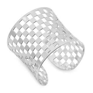 Piatella Ladies Stainless Steel Checkerboard Cuff Bracelet in 3 colors