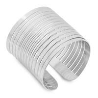 Piatella Ladies Stainless Steel Striped Cuff Bracelet in 3 colors