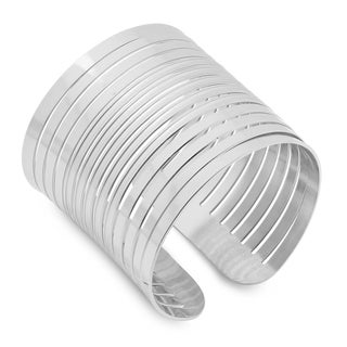 Stainless Steel Striped Cuff Bracelet in 3 colors