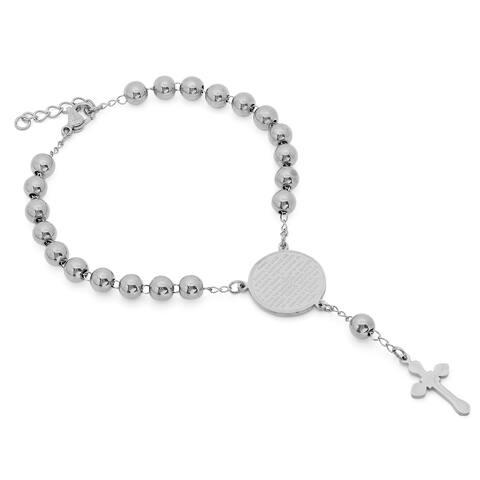 Piatella Ladies Stainless Steel Padre Nuestro Rosary Bracelet in 2 colors